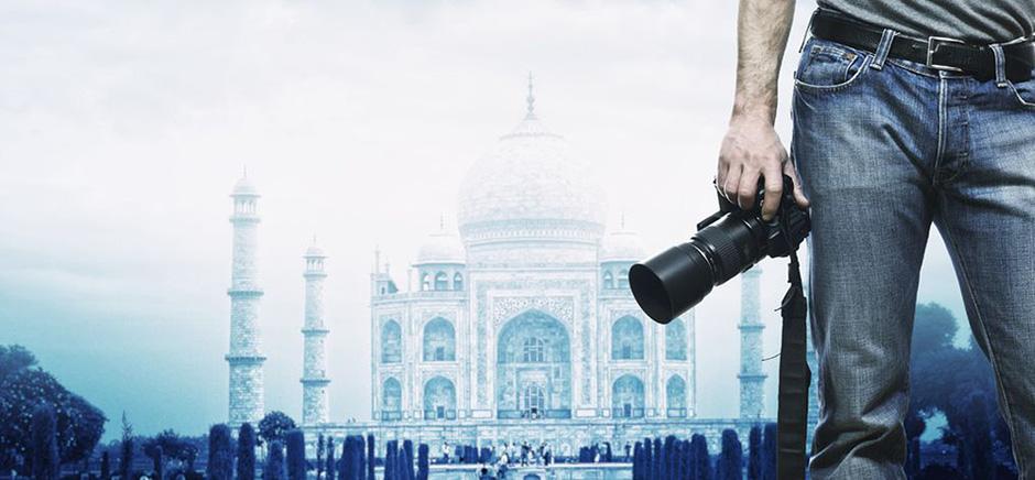 Photographe devant le Taj Mahal