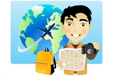 Illustration d'un photographe voyageur