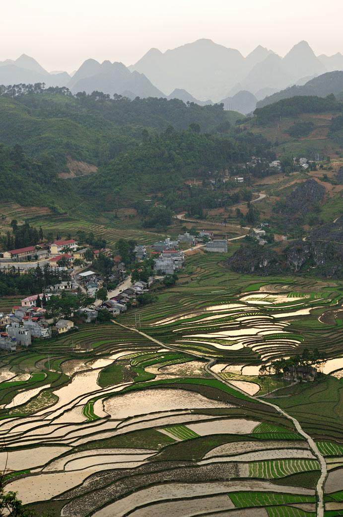 Montagnes et rizières à Dong Van, Vietnam