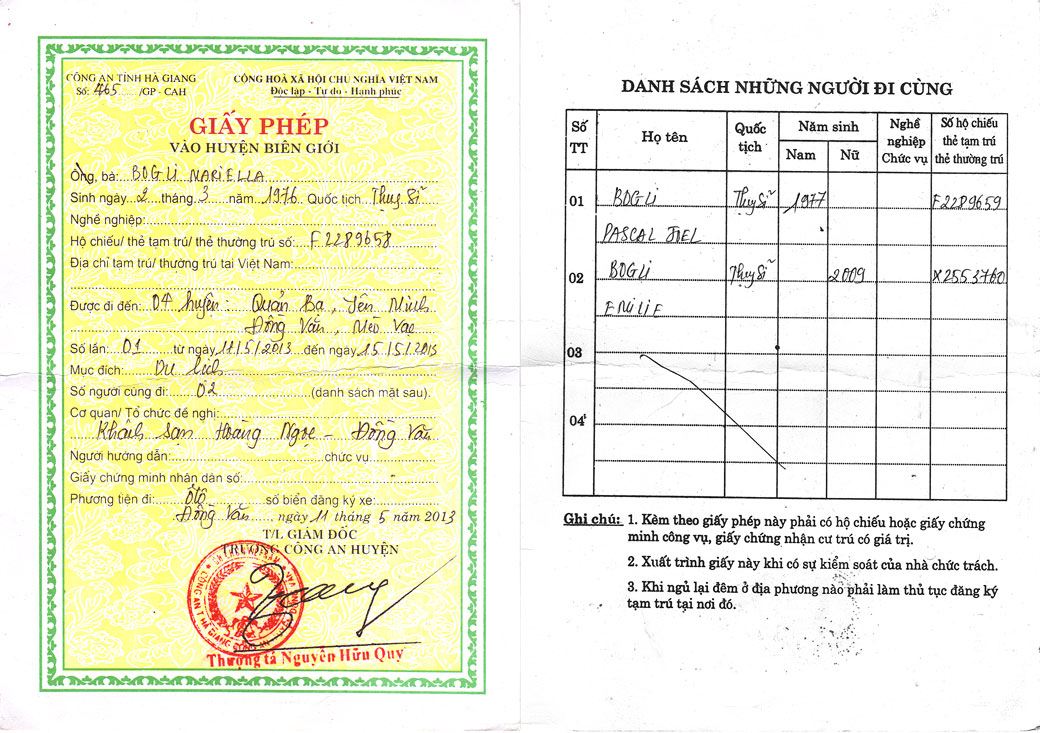 Permis spécial pour la province de Hà Giang, Vietnam