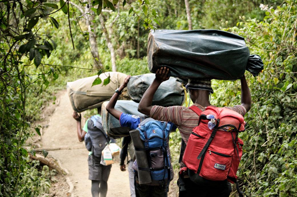Porteurs avec des sacs sur la tête au Kilimandjaro, Tanzanie