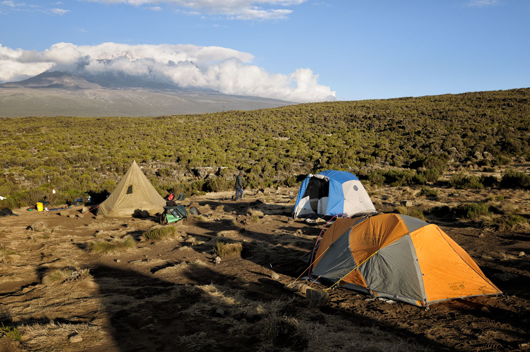 Le sommet du Kilimandjaro depuis le camp Shira 1, Tanzanie
