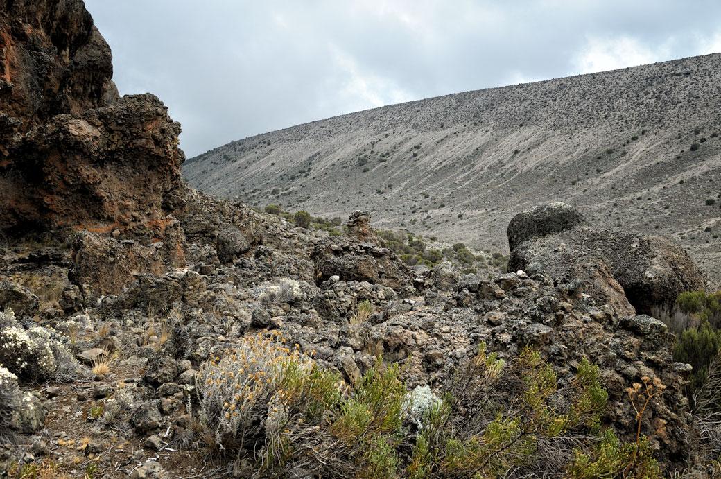 Vallée volcanique près de Moir Hut camp sur le Kilimandjaro