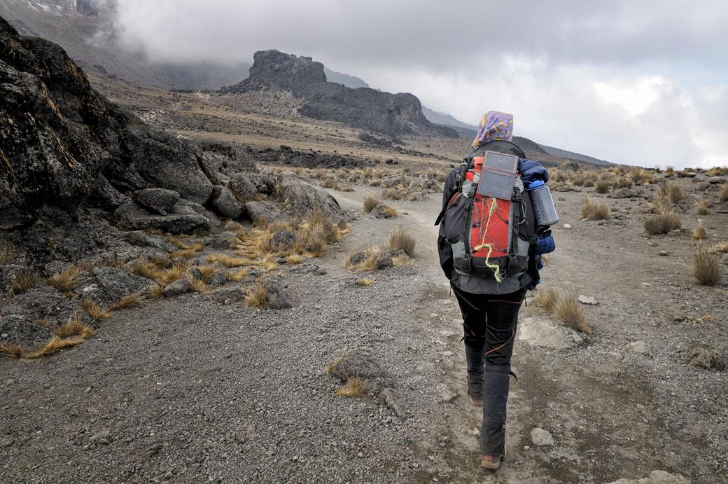 En approche de Lava Tower sur le Kilimandjaro, Tanzanie