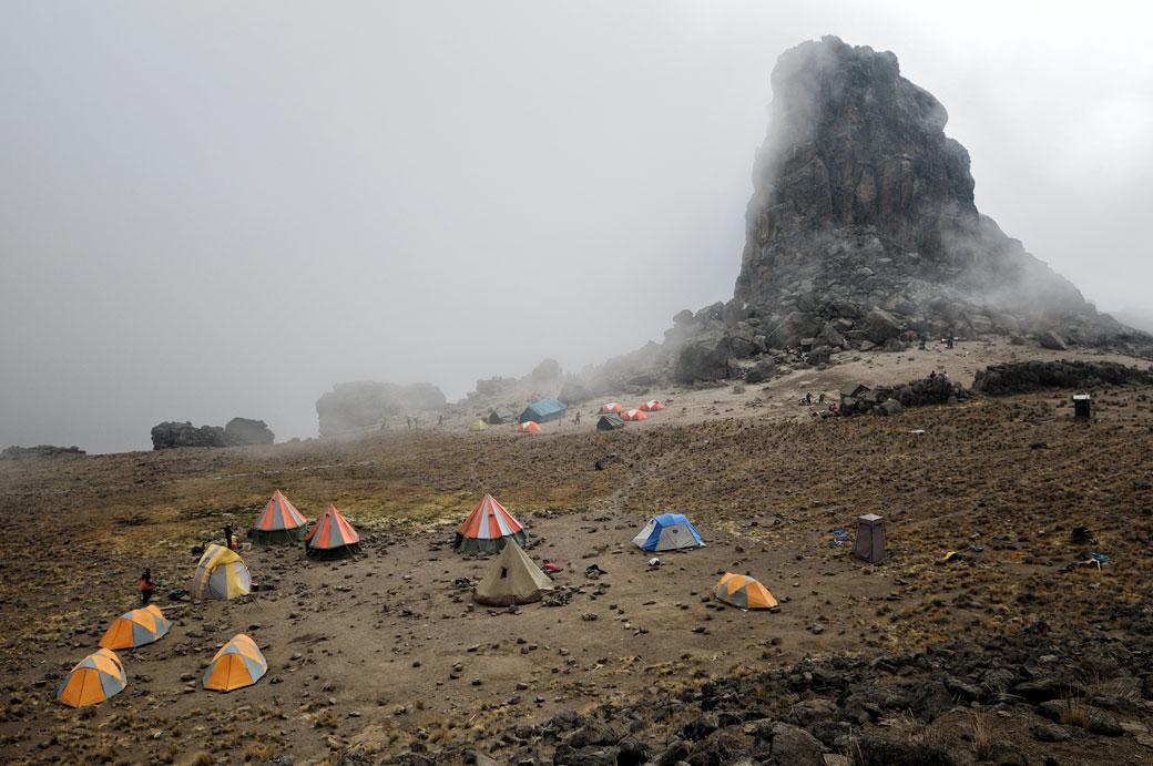 Lava Tower Camp dans le brouillard, Tanzanie
