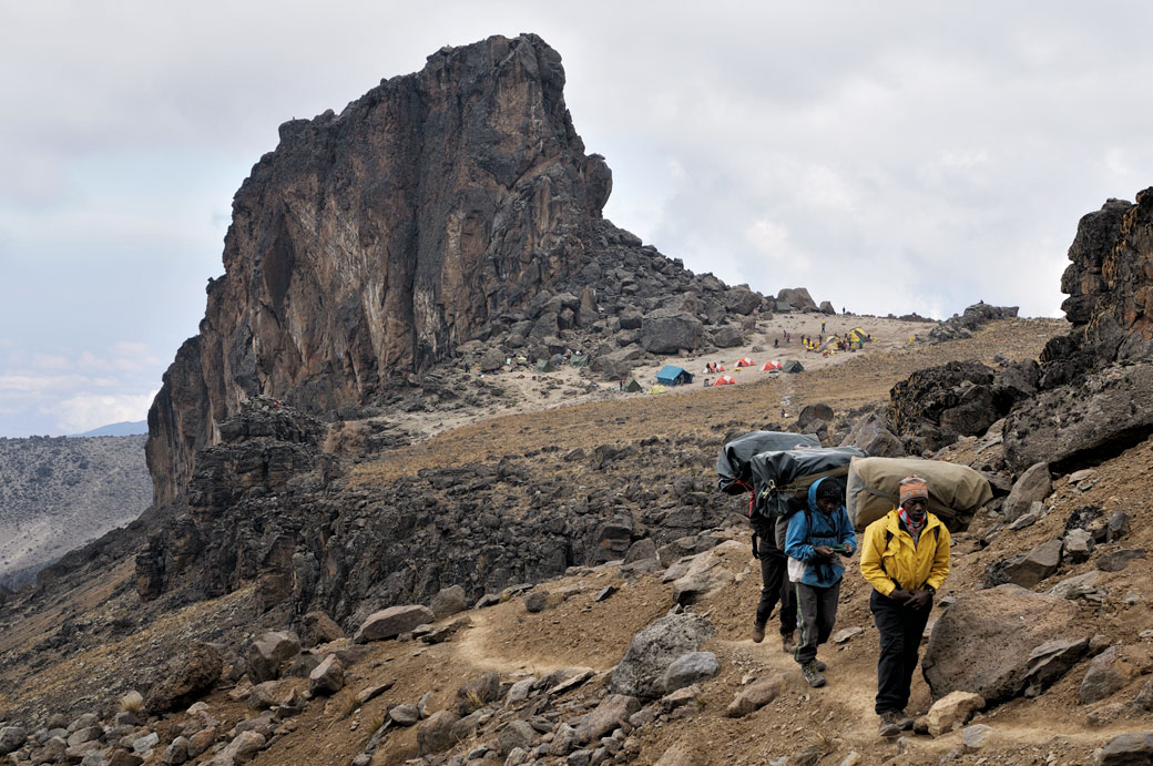 Porteurs du Kilimandjaro qui quittent Lava Tower Camp, Tanzanie