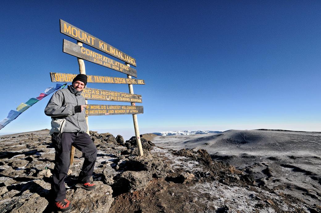 Pascal à Uhuru Peak, sommet du Kilimandjaro, Tanzanie