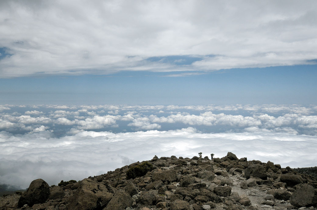 Descente par la voie Mweka vers les nuages au Kilimandjaro, Tanzanie
