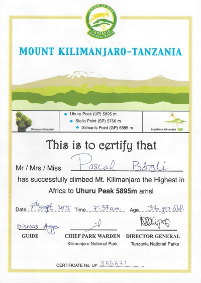 Certificat du parc national du Kilimandjaro, Tanzanie