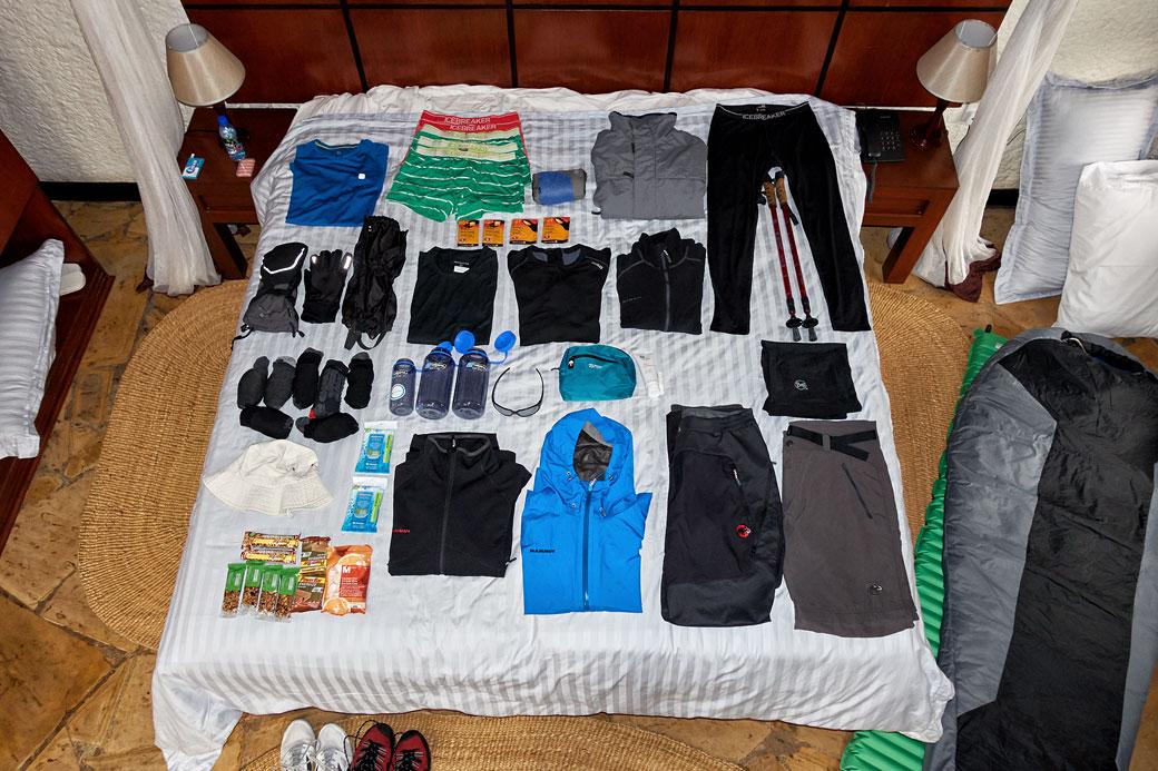 Équipement de trek pour le Kilimandjaro
