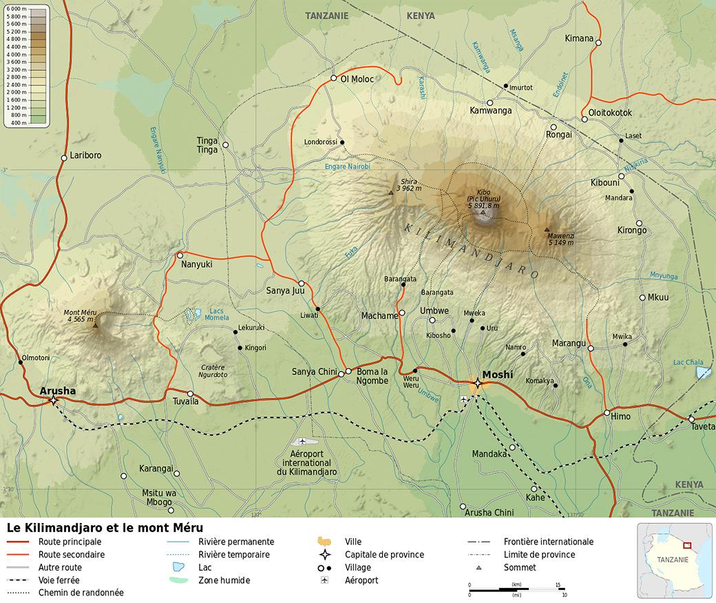 Carte des parcs nationaux du Kilimandjaro et Arusha