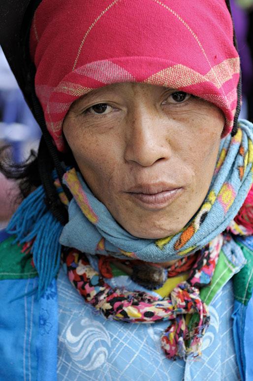 Portrait d'une femme au marché de Meo Vac, Vietnam