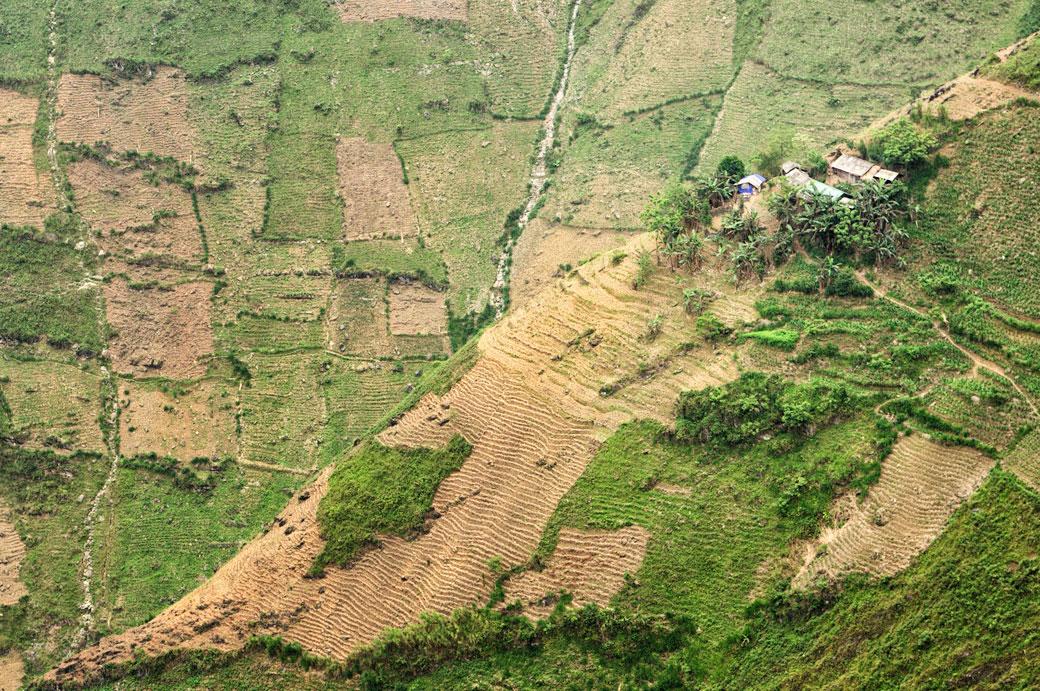 Maisons à flanc de coteau entre Dong Van et Meo Vac, Vietnam