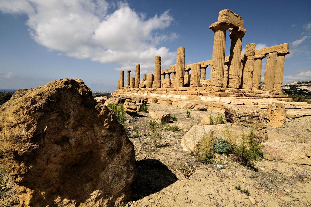 Les colonnes du temple d'Héra en Sicile, Italie