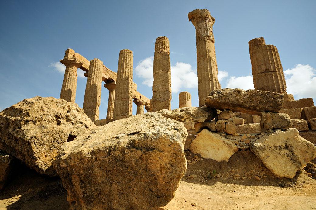 Ruines du temple d'Héra de la Vallée des Temples en Sicile, Italie