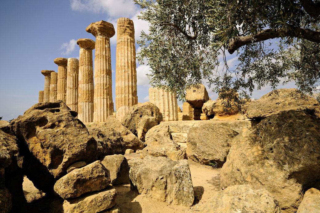 Ruines du temple d'Héraclès en Sicile, Italie