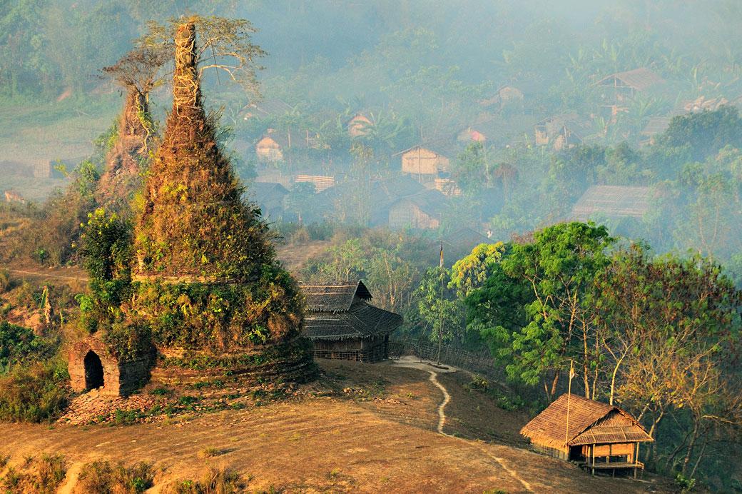 Vieille pagode envahie par la végétation à Mrauk U, Birmanie