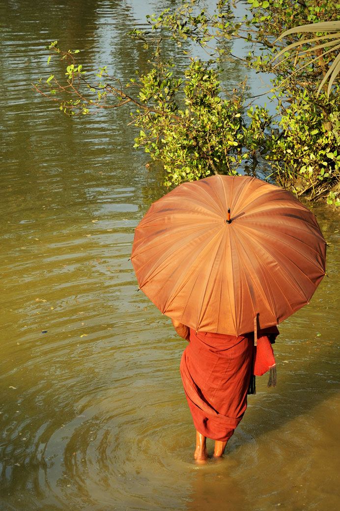 Moine faisant un bain de pieds à Mrauk U, Birmanie
