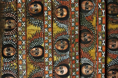 Chérubins au plafond de l'église Debré Berhan Sélassié à Gondar, Ethiopie