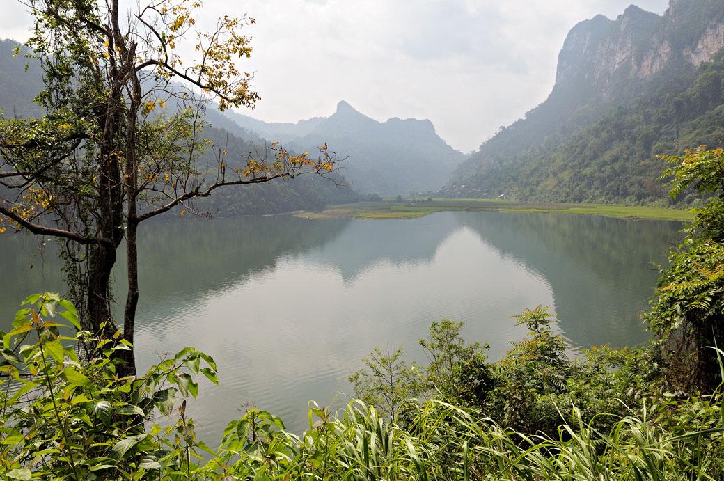 Réflexion matinale sur le lac de Ba Be, Vietnam