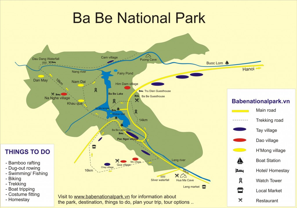 Carte du parc national de Ba Be, Vietnam