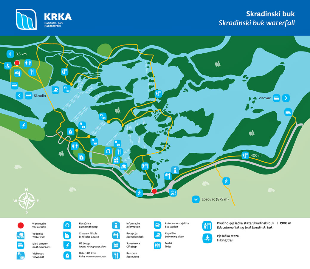 Carte du parc national de Krka, Croatie