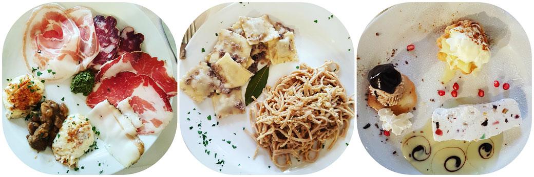 Repas au Caffe' del Centro à Varzi en Lombardie, Italie