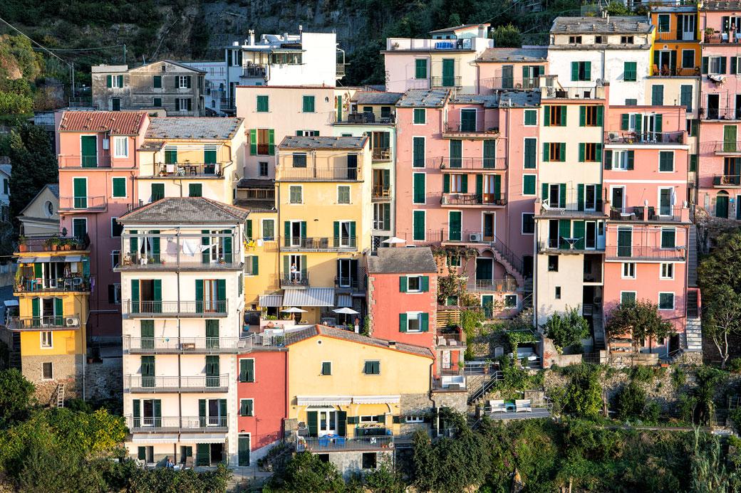 Les immeubles colorés du village de Manarola dans les Cinque Terre, Italie