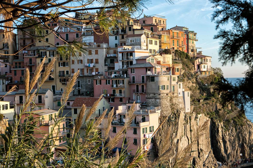 Gros plan sur le village de Manarola, Italie