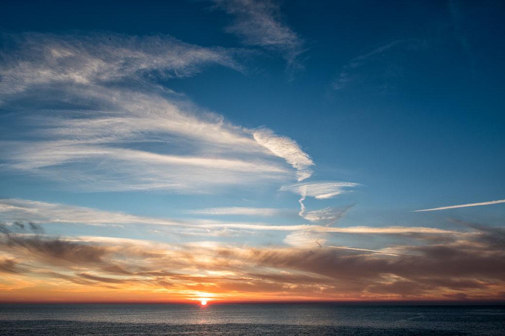 Coucher de soleil sur la mer de Ligurie, Italie