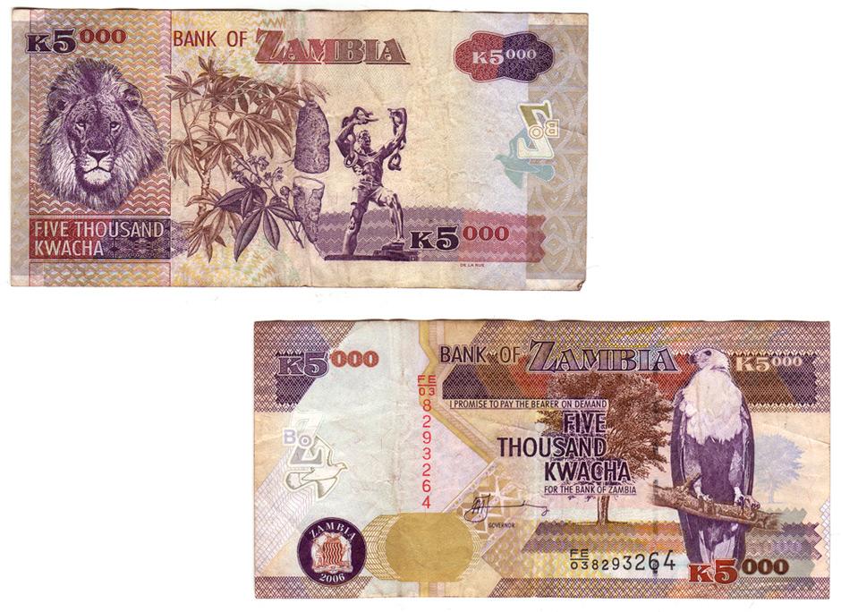 Billet de 5000 Kwachas zambien