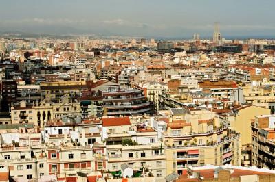 Les toits de Barcelone depuis la Sagrada Família, Espagne