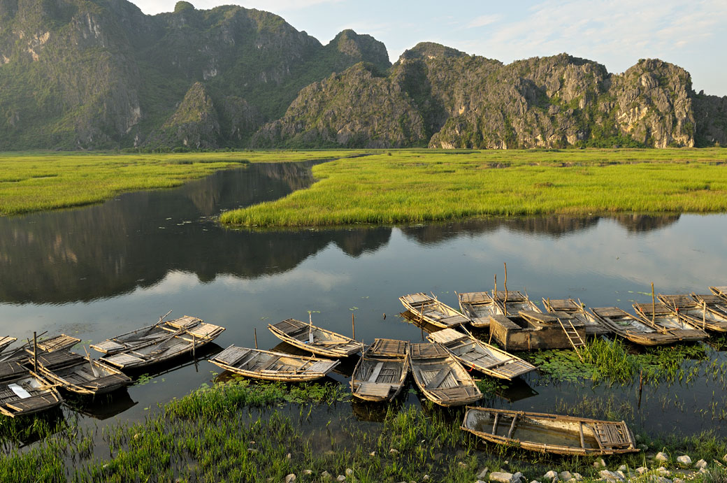 Barques à quai dans la réserve de Van Long, Vietnam