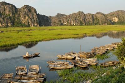 Rameuse et barques dans la réserve de Van Long, Vietnam