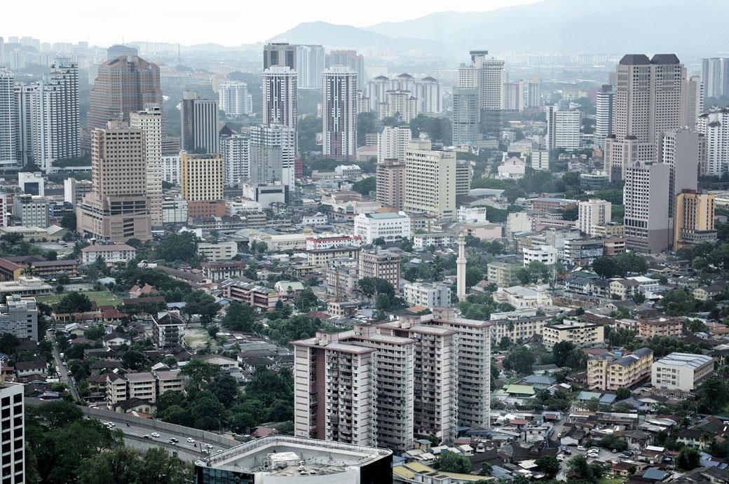 Bâtiments de Kuala Lumpur depuis les tours Petronas, Malaisie