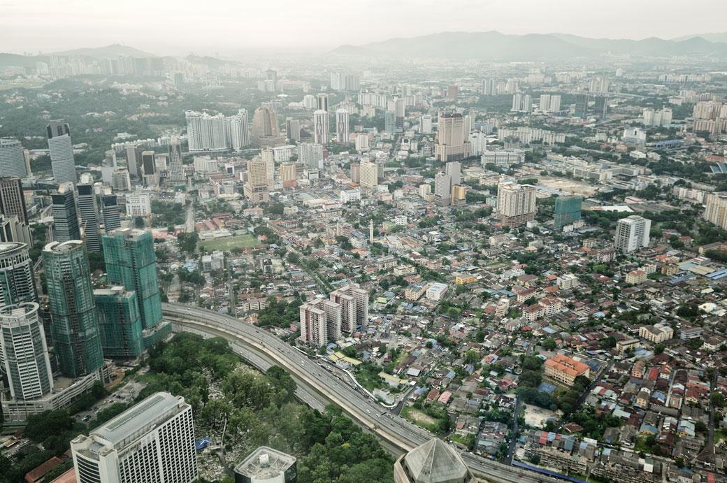 Vue sur Kuala Lumpur depuis le sommet des tours jumelles Petronas