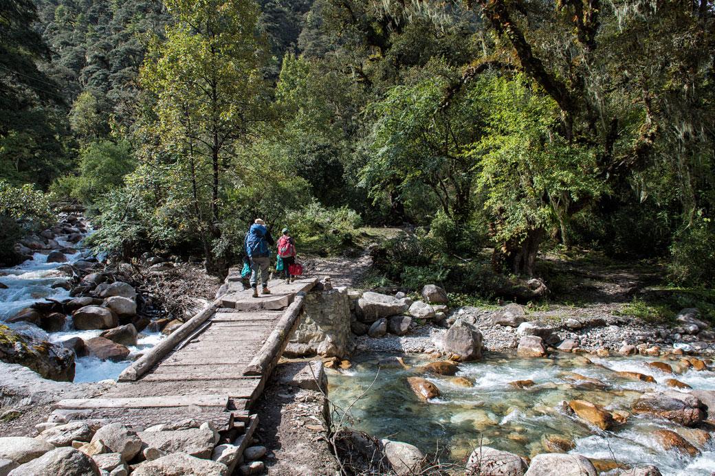 Pont en bois entre Shana et Thongo Zampa, Bhoutan
