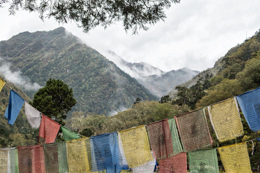 Drapeaux de prières au camp de Soi Thangthangkha, Bhoutan