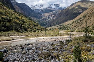 Vallée près du camp de Shomuthang, Bhoutan