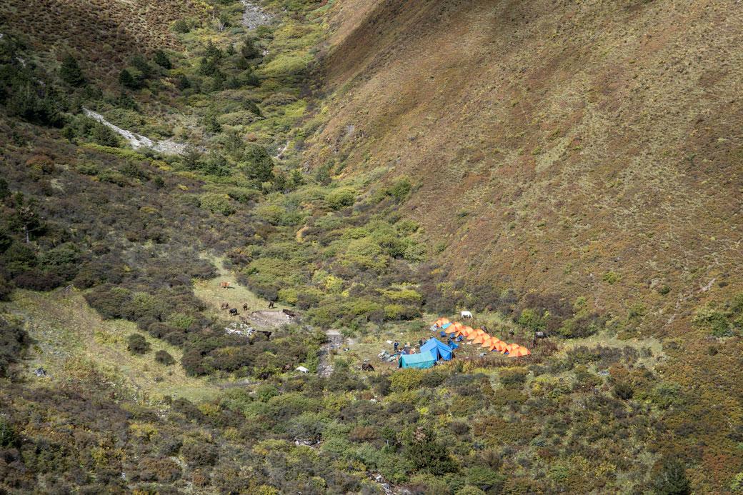 Campement entre Shomuthang et le col de Jare La, Bhoutan