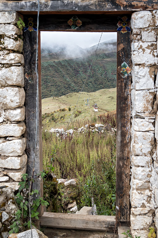 Une entrée du vieux Dzong de Lingshi, Bhoutan