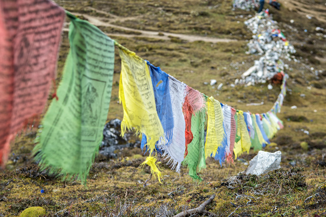 Col de Jare La et drapeaux de prières, Bhoutan