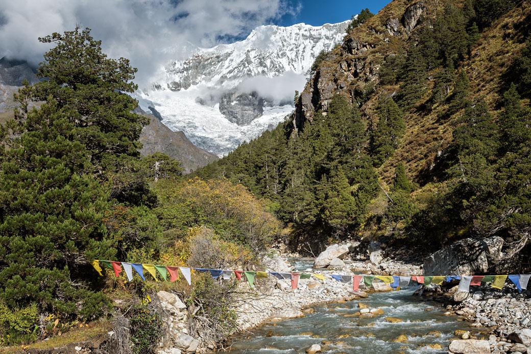 Drapeaux de prières et Gangchhenta, Bhoutan