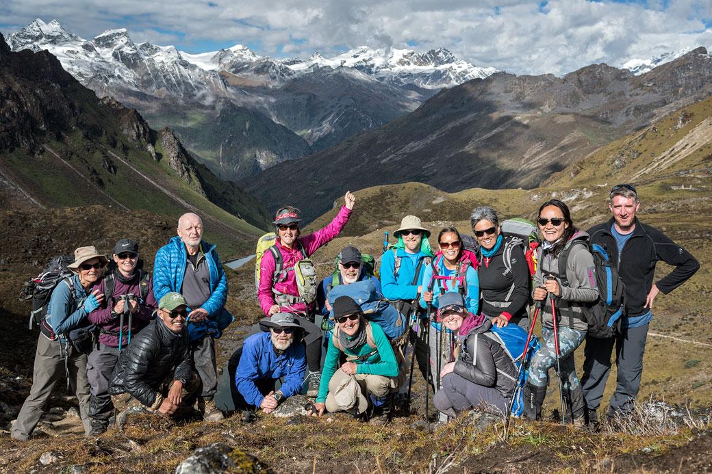 Groupe de trekkeurs au col de Keche La, Bhoutan