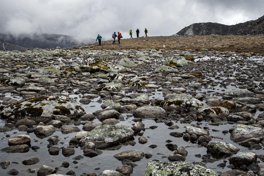 Trekkeurs près du camp de Tshochena, Bhoutan