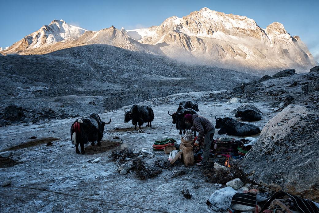Le jour se lève à Jichu Dramo, Bhoutan