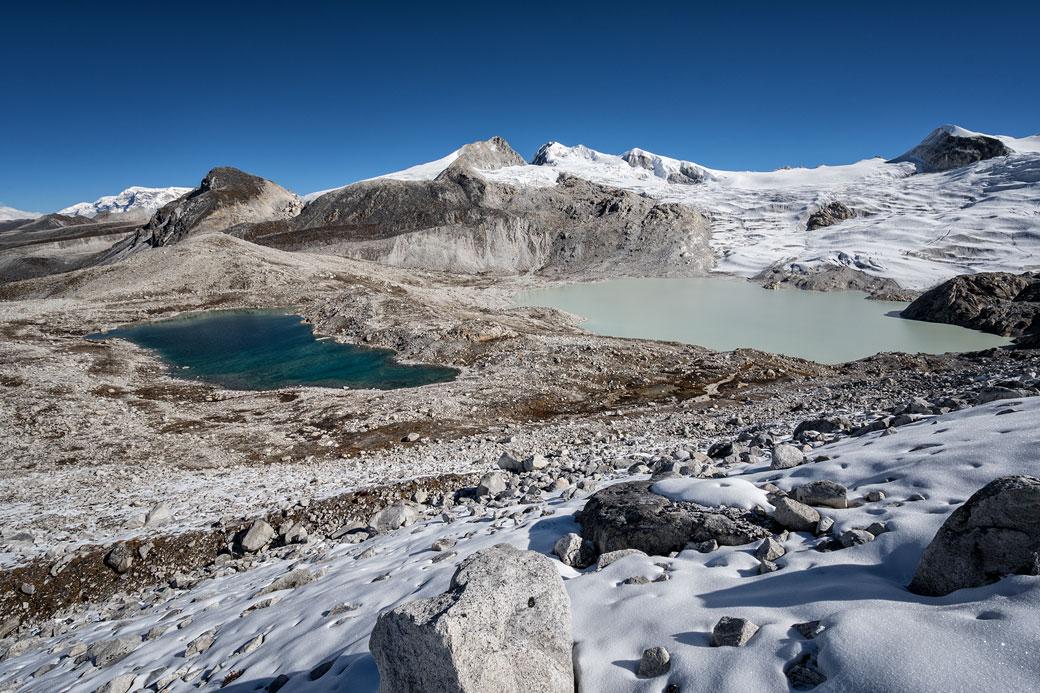 Lacs depuis le col de Rinchen Zoe La, Bhoutan