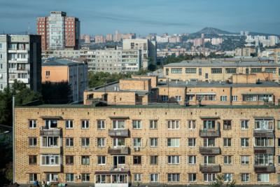 Immeubles de Krasnoyarsk au centre ville, Russie