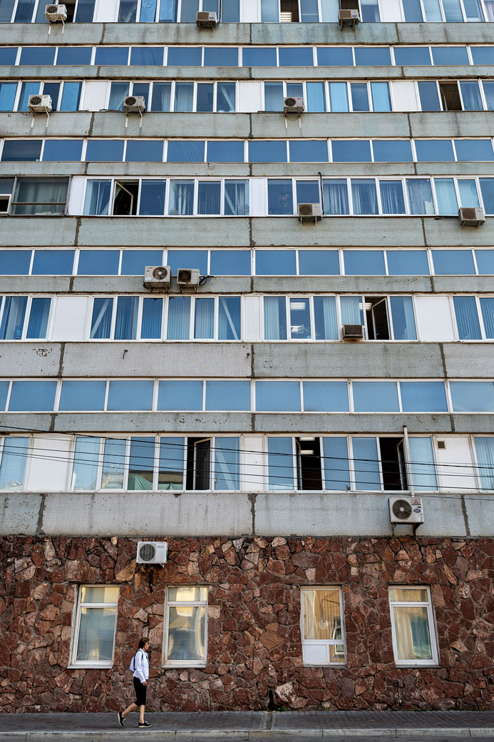 Façade d'un immeuble de Krasnoyarsk, Russie
