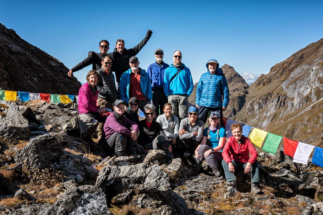 Groupe de trekkeurs au col de Tempe La, Bhoutan